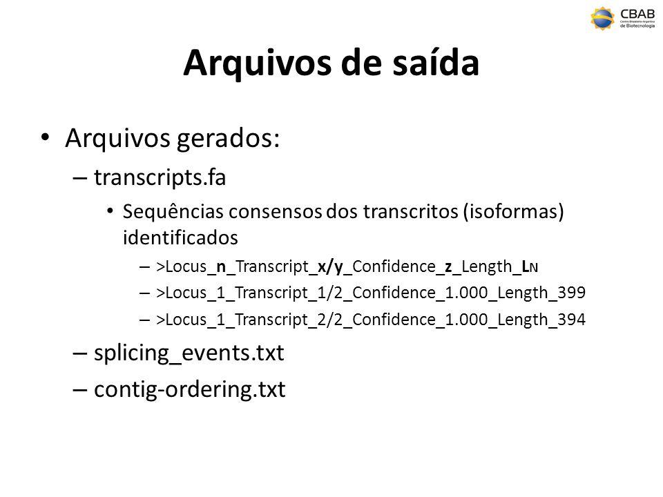 Arquivos de saída Arquivos gerados: transcripts.fa splicing_events.txt