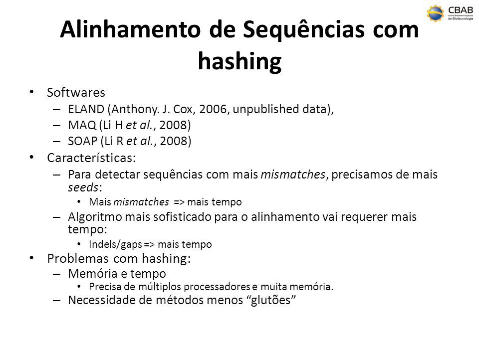 Alinhamento de Sequências com hashing