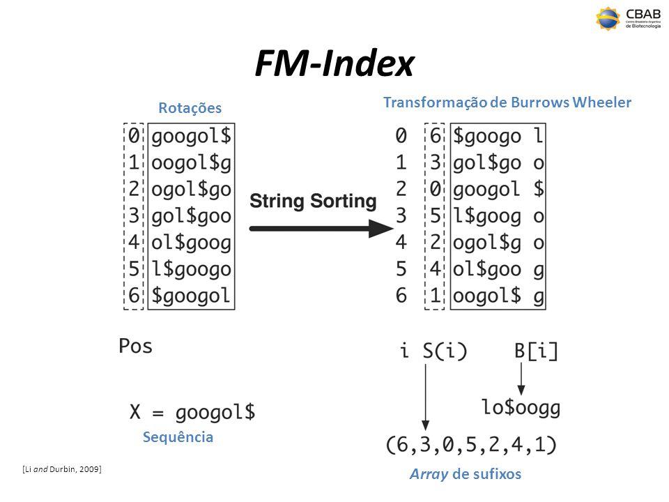 FM-Index Transformação de Burrows Wheeler Rotações Sequência