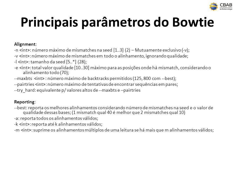 Principais parâmetros do Bowtie