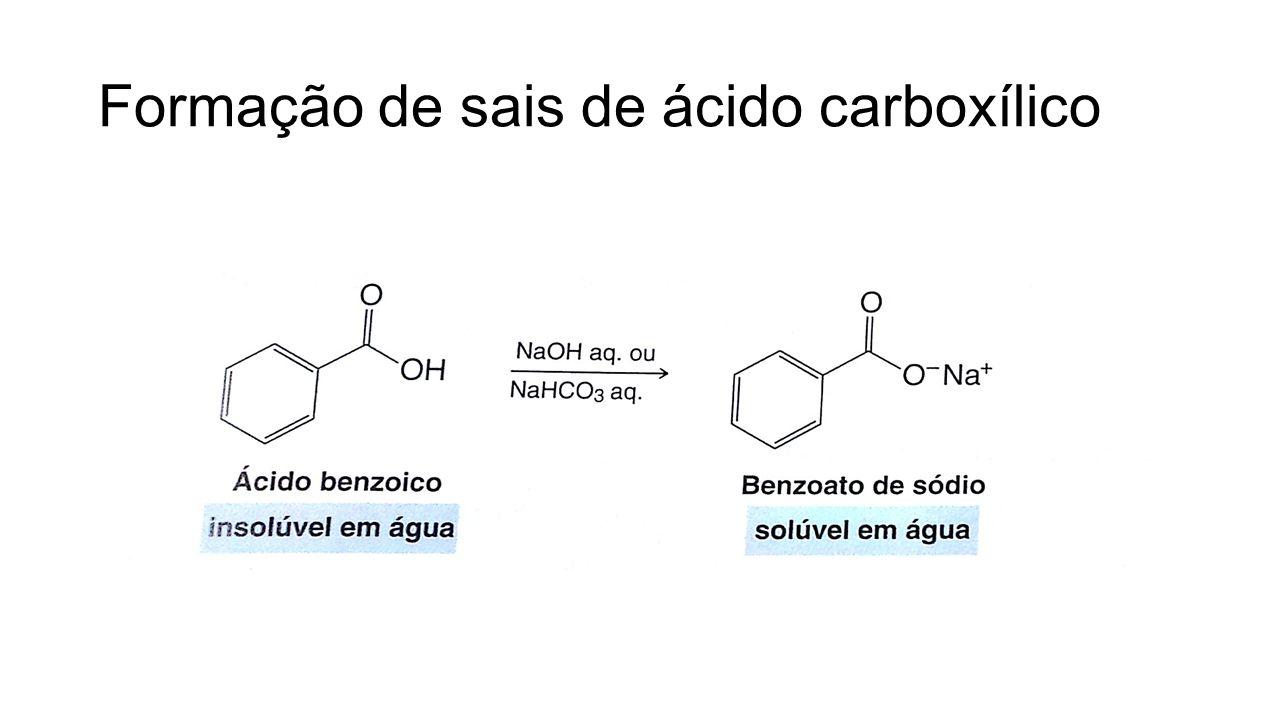 Formação de sais de ácido carboxílico