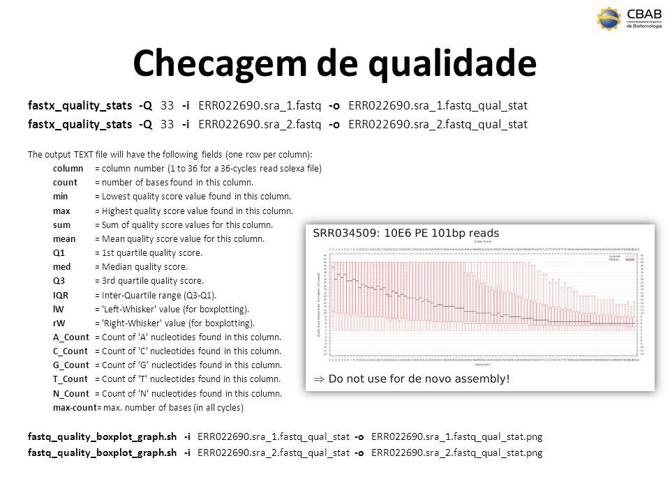 Checagem de qualidade fastx_quality_stats -Q 33 -i ERR022690.sra_1.fastq -o ERR022690.sra_1.fastq_qual_stat.
