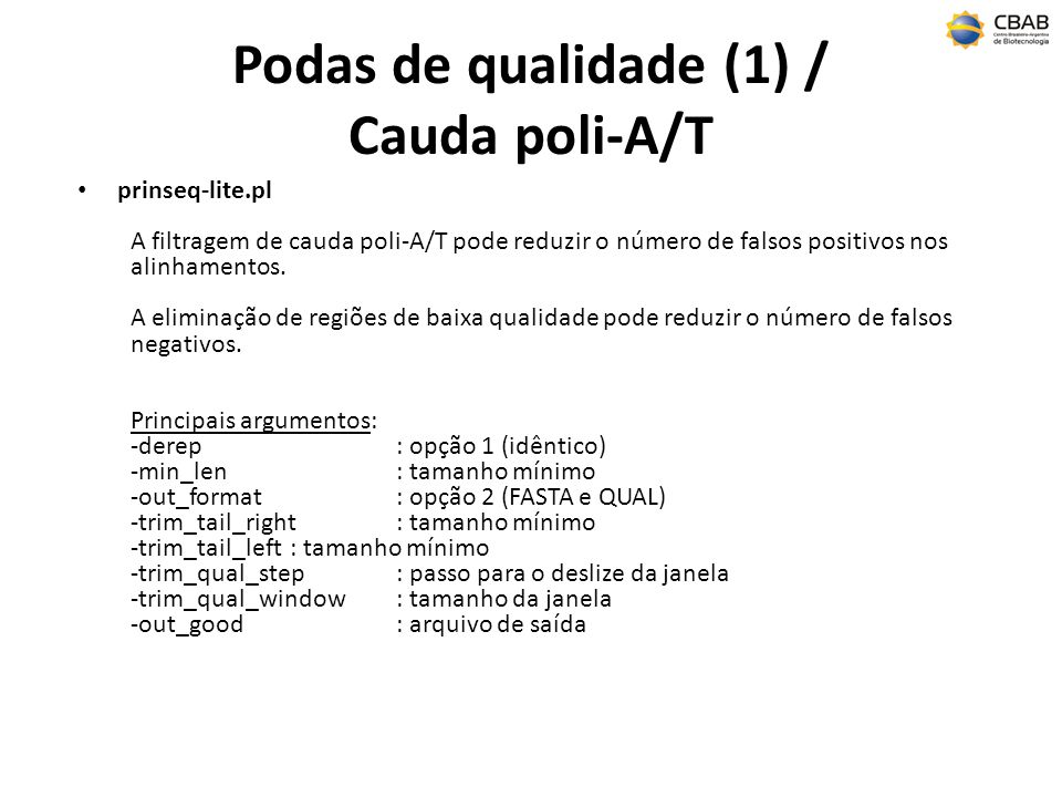 Podas de qualidade (1) / Cauda poli-A/T