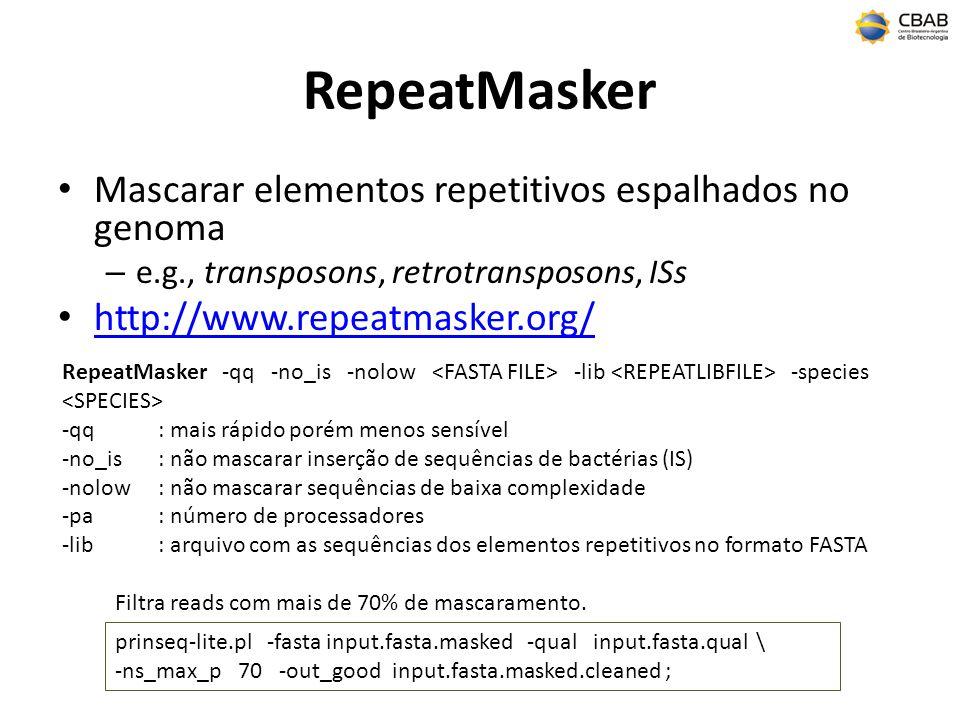 RepeatMasker Mascarar elementos repetitivos espalhados no genoma