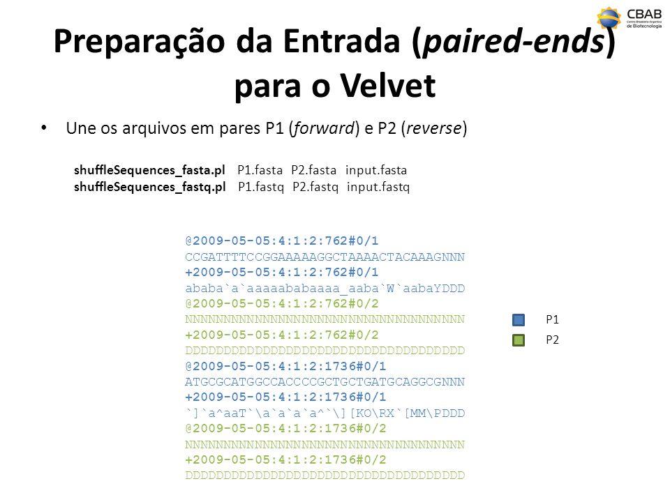 Preparação da Entrada (paired-ends) para o Velvet