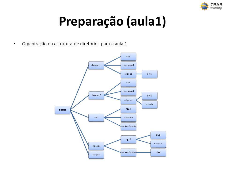 Preparação (aula1) Organização da estrutura de diretórios para a aula 1. classes. dataset1. raw.