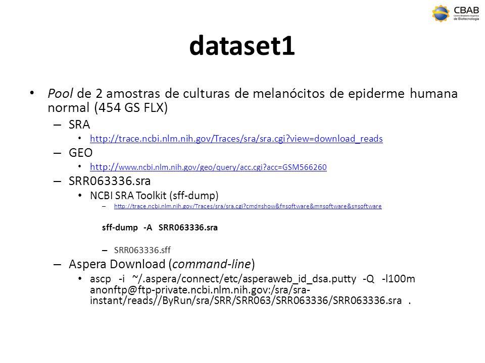 dataset1 Pool de 2 amostras de culturas de melanócitos de epiderme humana normal (454 GS FLX) SRA.