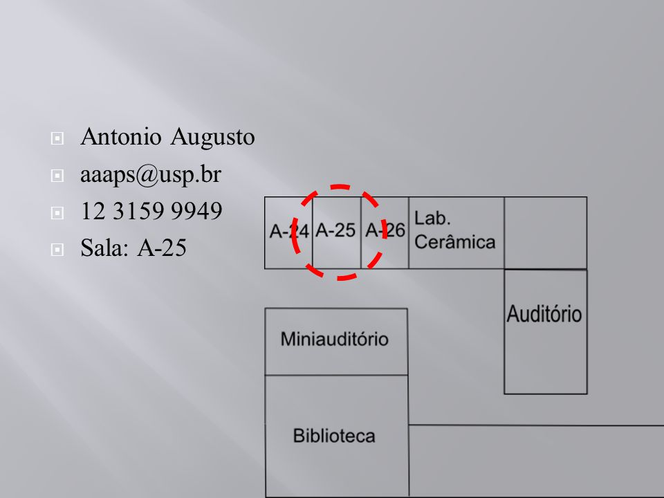 Antonio Augusto aaaps@usp.br 12 3159 9949 Sala: A-25