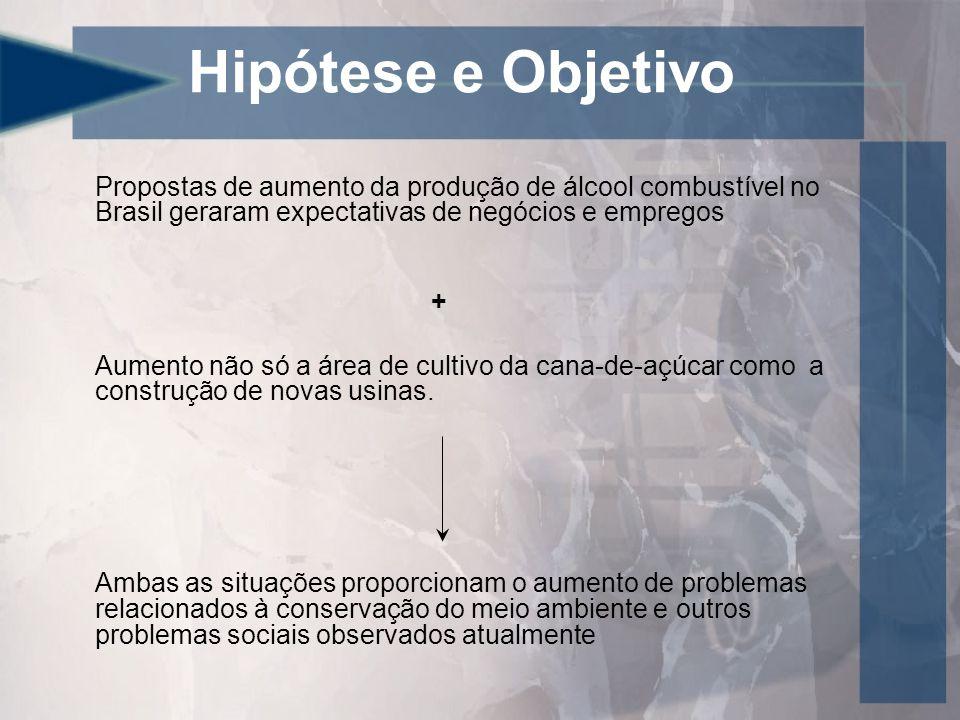 Hipótese e Objetivo Propostas de aumento da produção de álcool combustível no Brasil geraram expectativas de negócios e empregos.