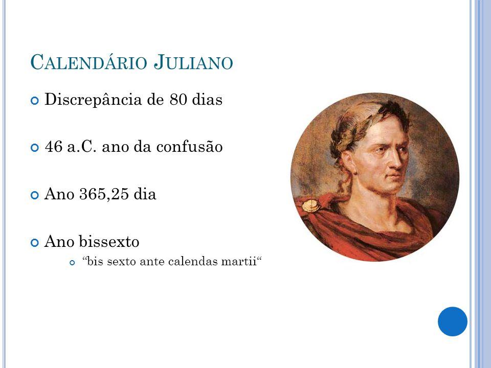 Calendário Juliano Discrepância de 80 dias 46 a.C. ano da confusão
