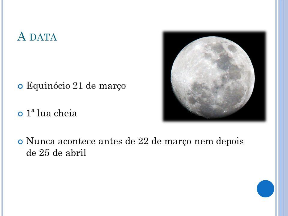 A data Equinócio 21 de março 1ª lua cheia
