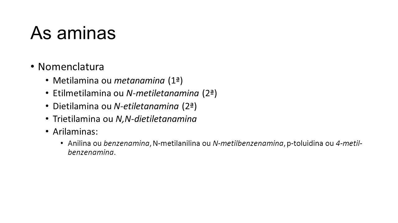 As aminas Nomenclatura Metilamina ou metanamina (1ª)