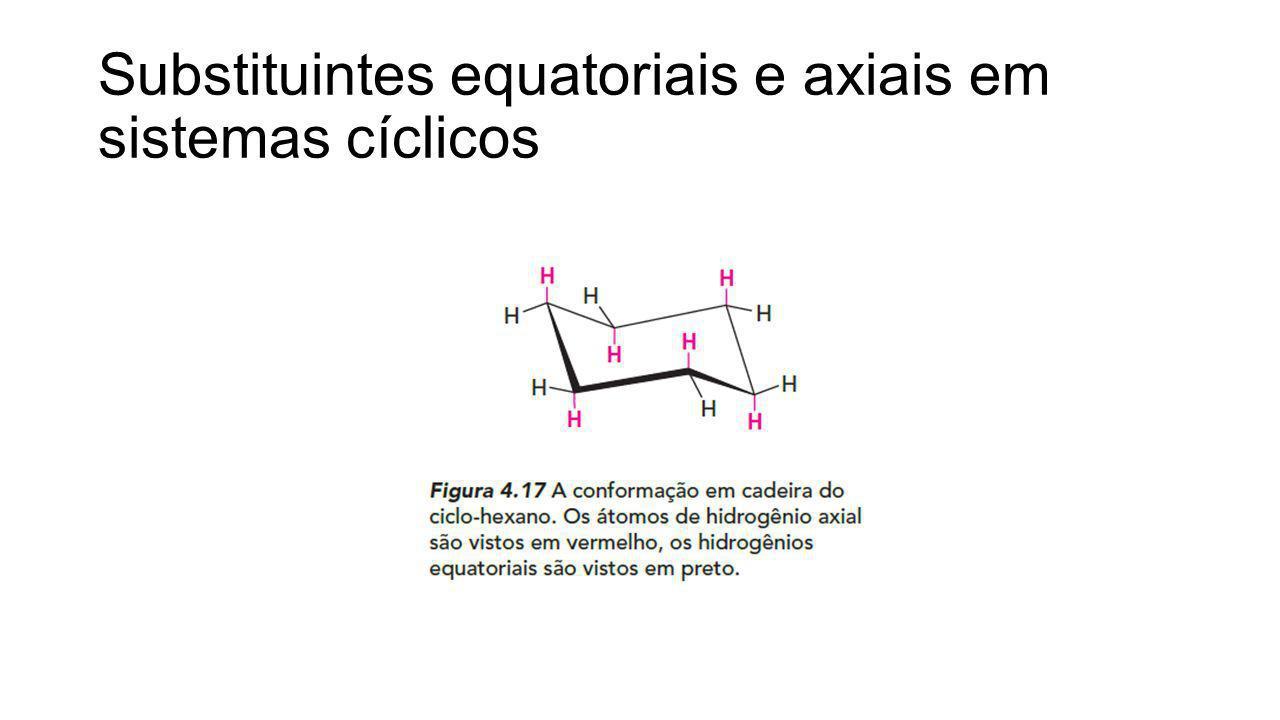 Substituintes equatoriais e axiais em sistemas cíclicos
