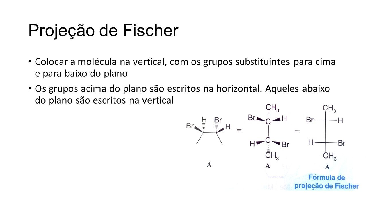 Projeção de Fischer Colocar a molécula na vertical, com os grupos substituintes para cima e para baixo do plano.