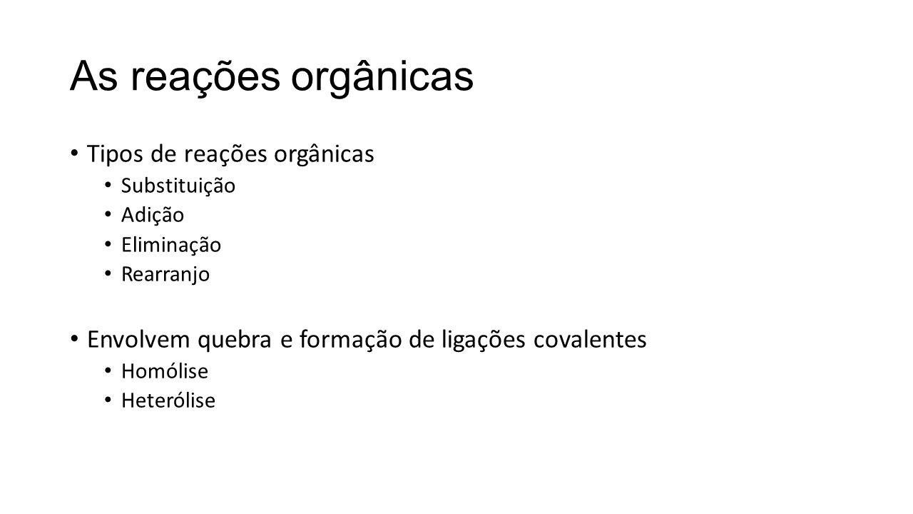As reações orgânicas Tipos de reações orgânicas