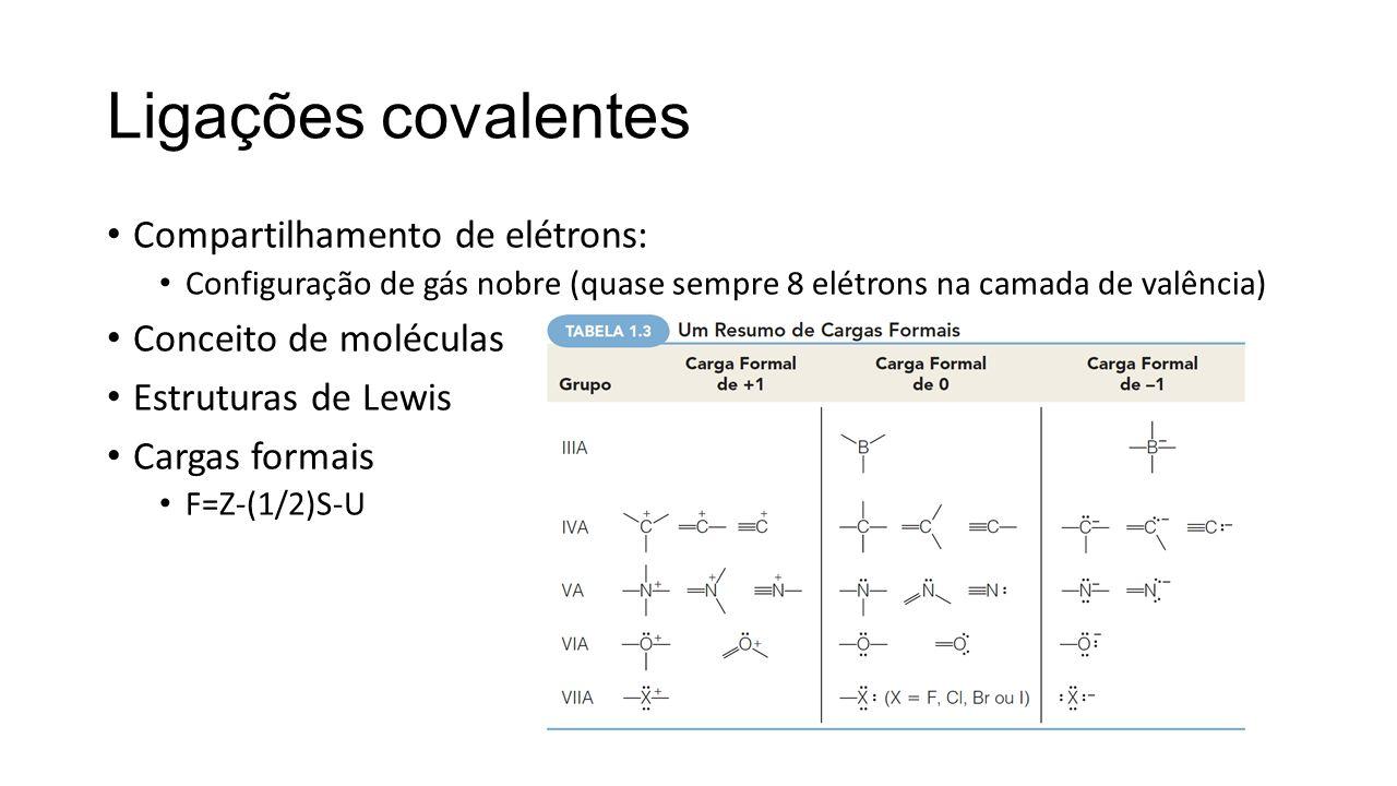 Ligações covalentes Compartilhamento de elétrons: