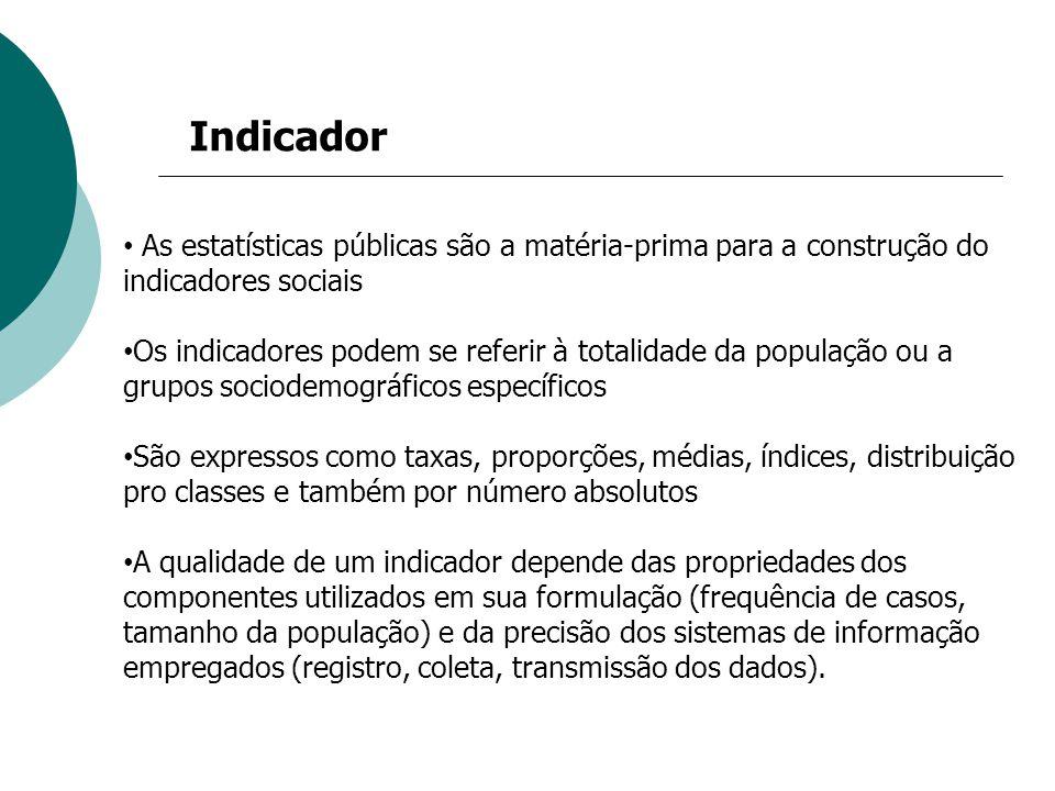 Indicador As estatísticas públicas são a matéria-prima para a construção do indicadores sociais.