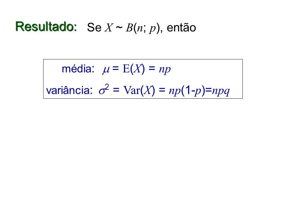 Resultado: Se X ~ B(n; p), então média:  = E(X) = np