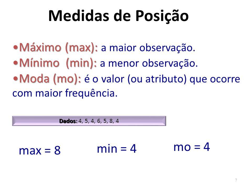Medidas de Posição mo = 4 min = 4 max = 8