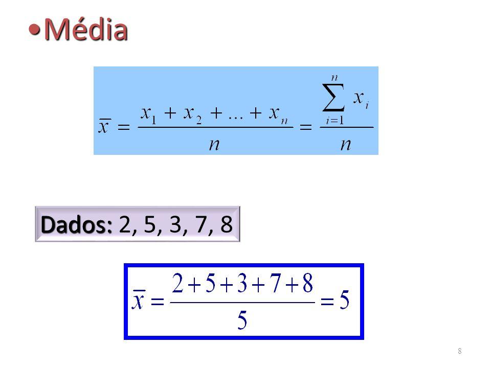 Média Dados: 2, 5, 3, 7, 8