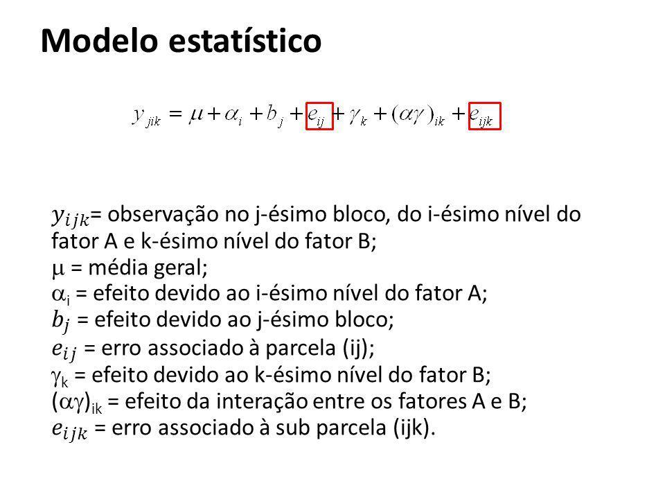 Modelo estatístico 𝑦 𝑖𝑗𝑘 = observação no j-ésimo bloco, do i-ésimo nível do fator A e k-ésimo nível do fator B;