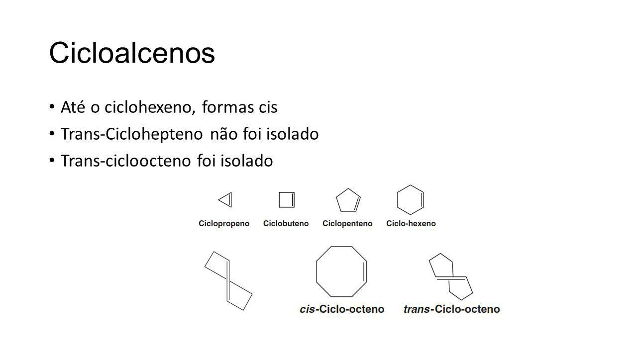 Cicloalcenos Até o ciclohexeno, formas cis