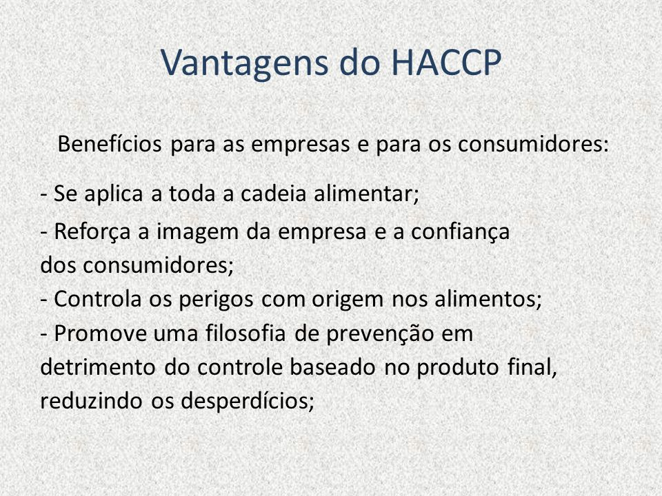 Vantagens do HACCP