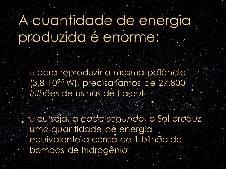 A quantidade de energia produzida é enorme: