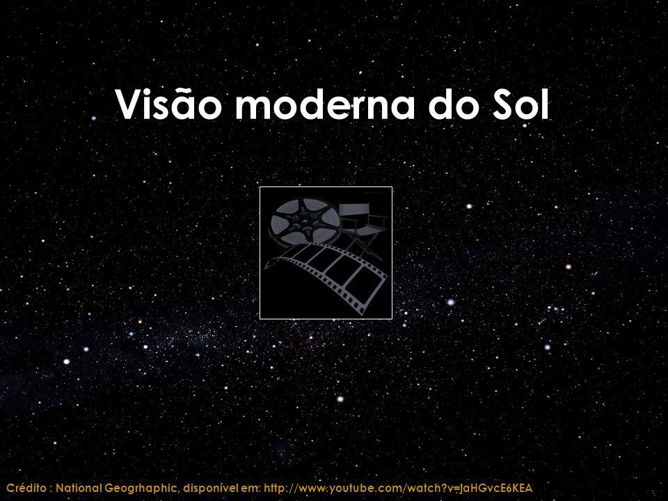 Visão moderna do Sol Crédito : National Geogrhaphic, disponível em: http://www.youtube.com/watch v=jaHGvcE6KEA.