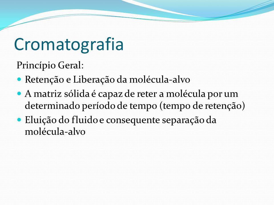 Cromatografia Princípio Geral: Retenção e Liberação da molécula-alvo
