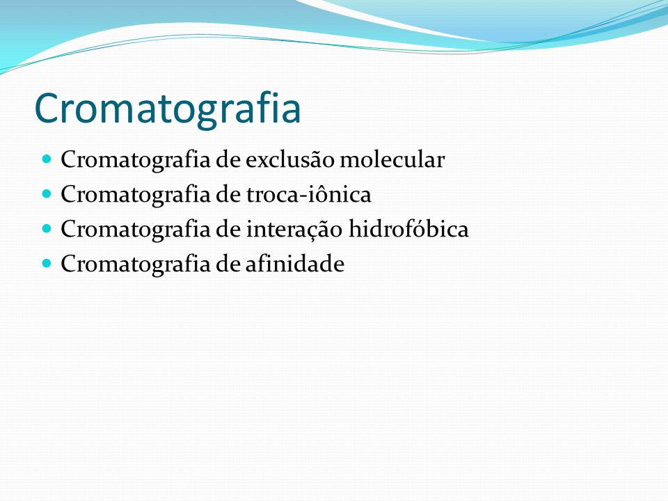 Cromatografia Cromatografia de exclusão molecular