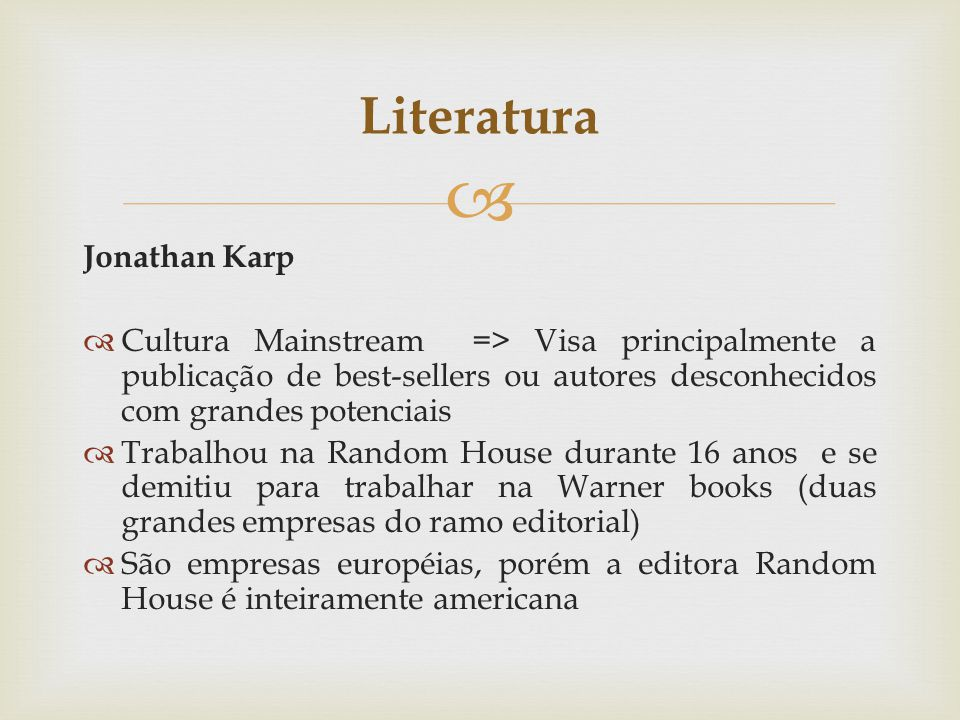Literatura Jonathan Karp
