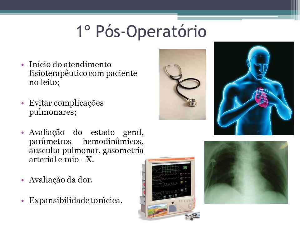 1º Pós-Operatório Início do atendimento fisioterapêutico com paciente no leito; Evitar complicações pulmonares;
