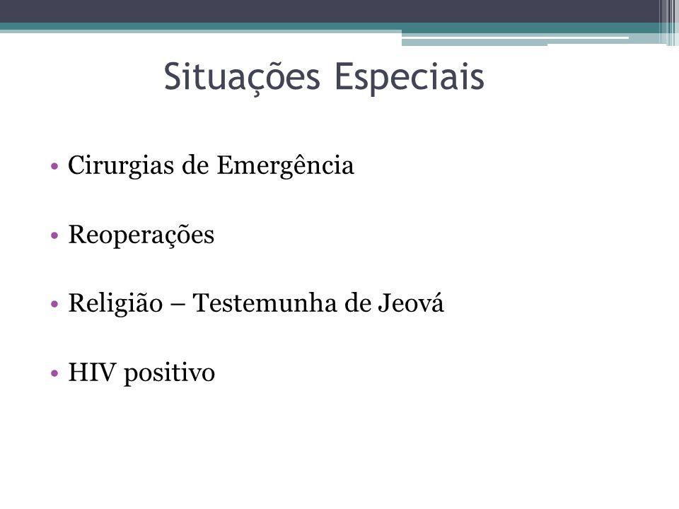 Situações Especiais Cirurgias de Emergência Reoperações