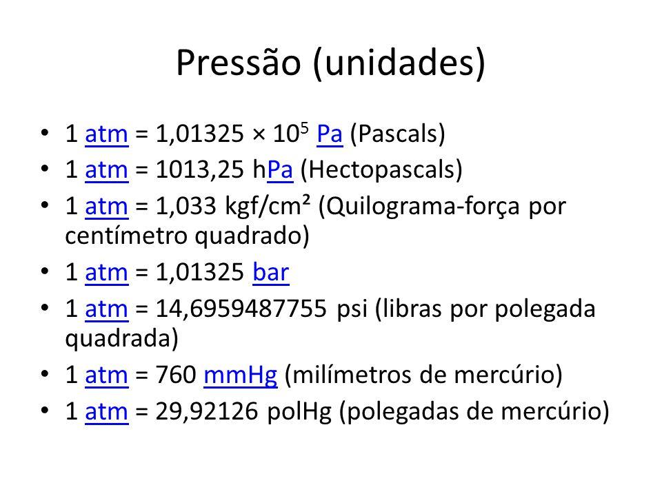 Pressão (unidades) 1 atm = 1,01325 × 105 Pa (Pascals)