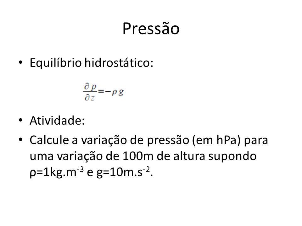 Pressão Equilíbrio hidrostático: Atividade: