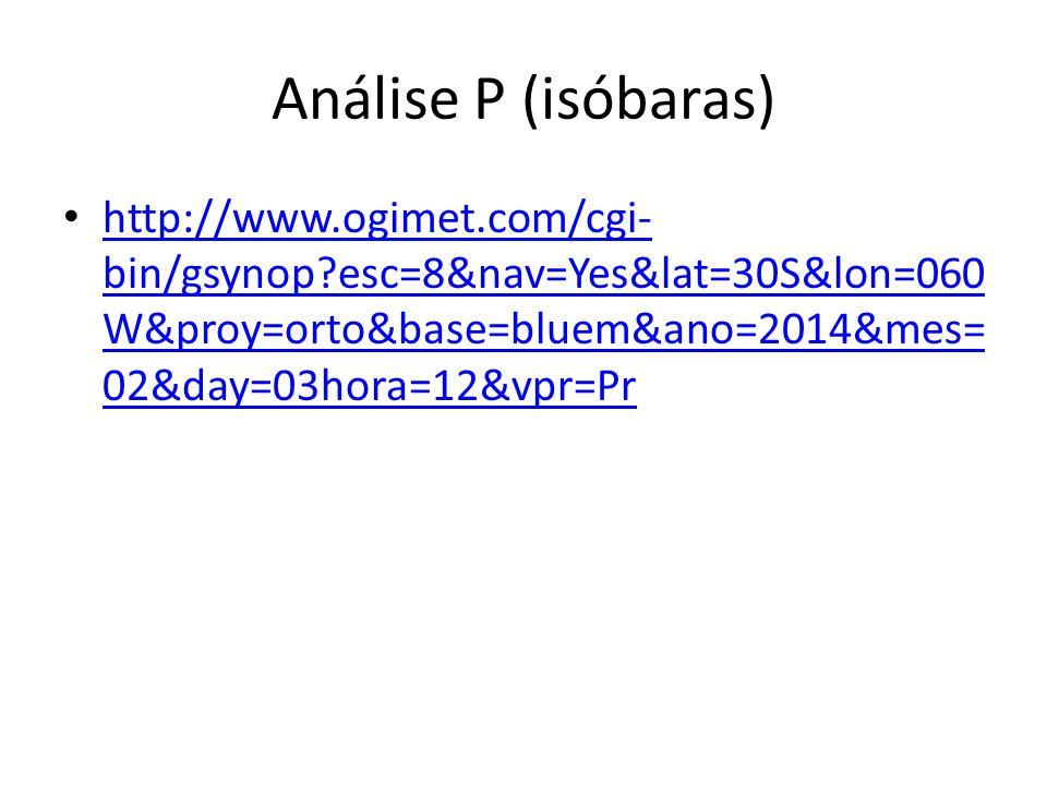 Análise P (isóbaras) http://www.ogimet.com/cgi-bin/gsynop esc=8&nav=Yes&lat=30S&lon=060W&proy=orto&base=bluem&ano=2014&mes=02&day=03hora=12&vpr=Pr.