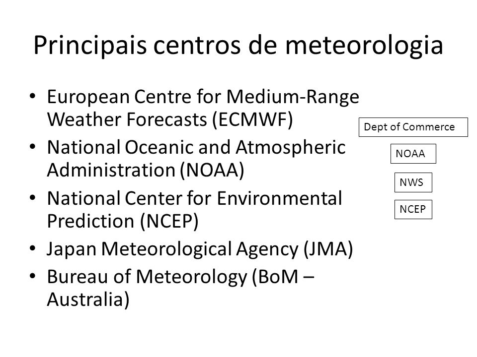 Principais centros de meteorologia