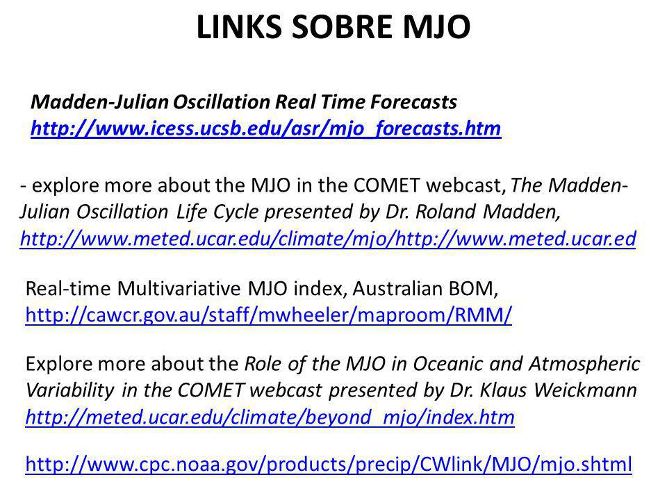 LINKS SOBRE MJO Madden-Julian Oscillation Real Time Forecasts