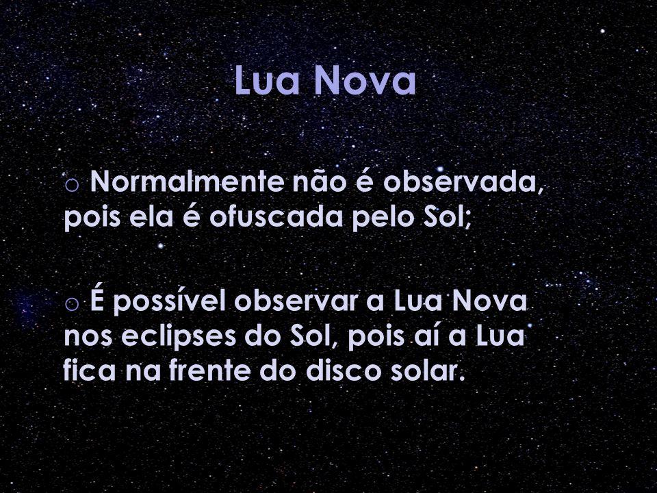 Lua Nova Normalmente não é observada, pois ela é ofuscada pelo Sol;
