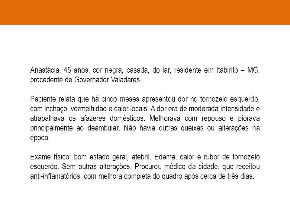 Anastácia, 45 anos, cor negra, casada, do lar, residente em Itabirito – MG, procedente de Governador Valadares.