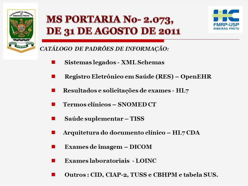 MS PORTARIA No- 2.073, DE 31 DE AGOSTO DE 2011