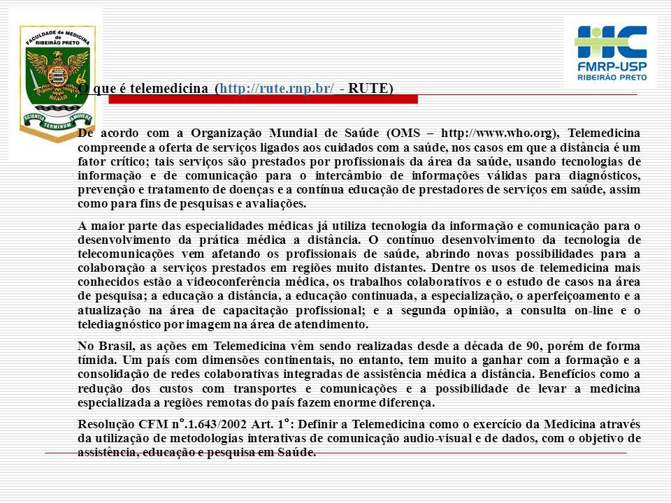 O que é telemedicina (http://rute.rnp.br/ - RUTE)