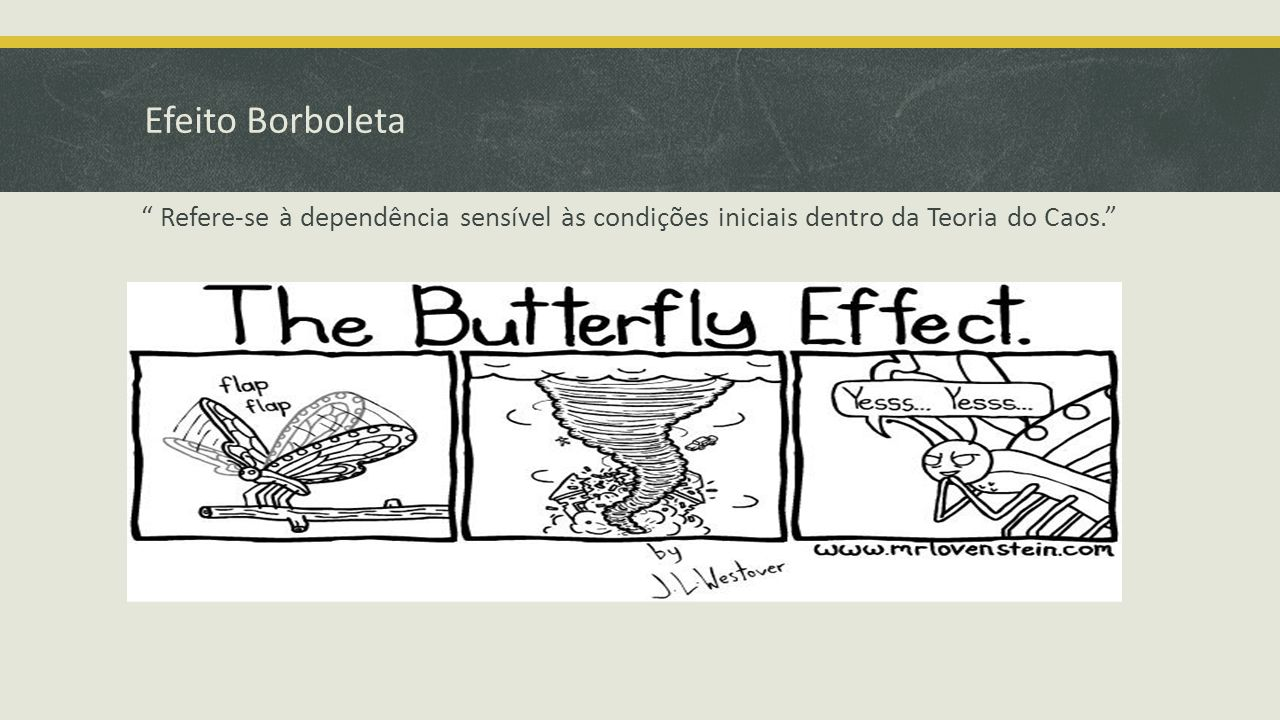 Efeito Borboleta Refere-se à dependência sensível às condições iniciais dentro da Teoria do Caos.