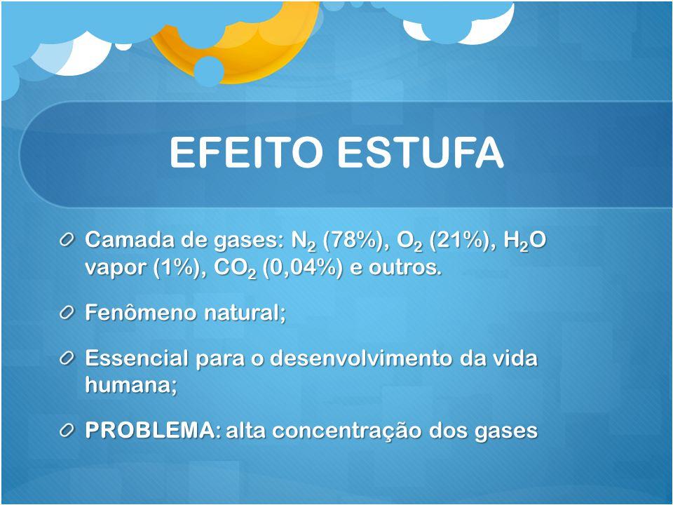 EFEITO ESTUFA Camada de gases: N2 (78%), O2 (21%), H2O vapor (1%), CO2 (0,04%) e outros. Fenômeno natural;