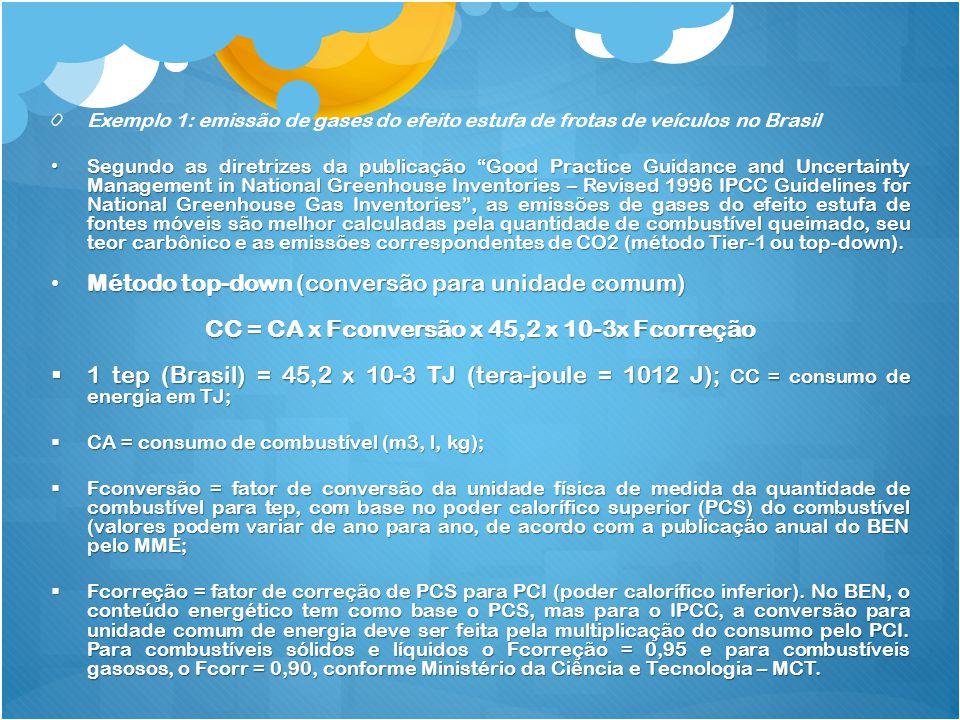 CC = CA x Fconversão x 45,2 x 10-3x Fcorreção