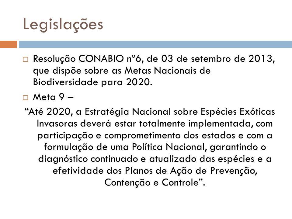 Legislações Resolução CONABIO nº6, de 03 de setembro de 2013, que dispõe sobre as Metas Nacionais de Biodiversidade para 2020.