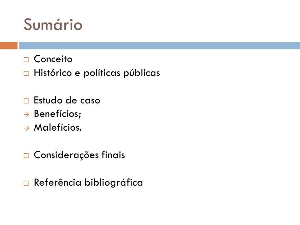 Sumário Conceito Histórico e políticas públicas Estudo de caso