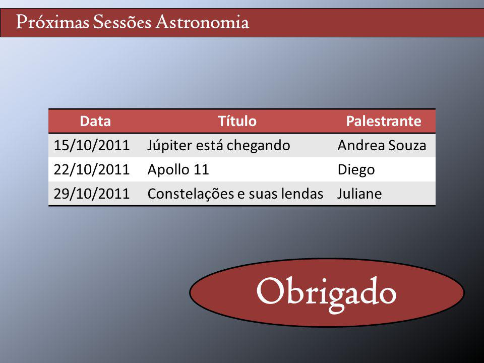 Obrigado Próximas Sessões Astronomia Data Título Palestrante
