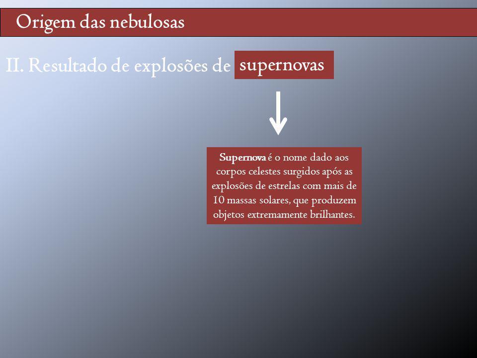 II. Resultado de explosões de supernovas supernovas